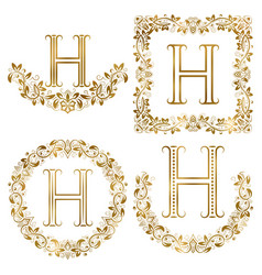 Golden h letter ornamental monograms set heraldic vector