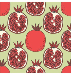Seamless fruit pattern of pomegranates vector
