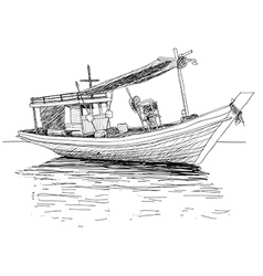 Thai fishing boat vector