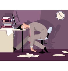Tired man at work vector image