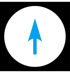 Arrow axis y flat blue and white colors round vector