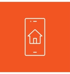 Property search on mobile device line icon vector