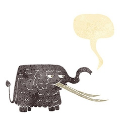 Cartoon woolly mammoth with speech bubble vector