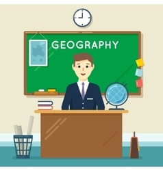 School teacher in classroom geography lesson vector
