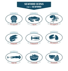 Seafood icons fish icons vector