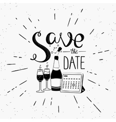 Save the date design element with calendar and vector
