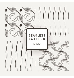 Set of seamless pattern of wavy lines and vector