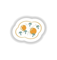Stylish paper sticker fried eggs with mushrooms vector
