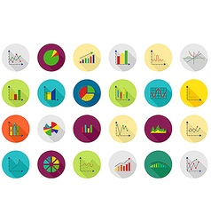 Charts round icons set vector