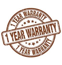 1 year warranty brown grunge round vintage rubber vector