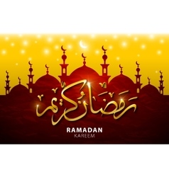 Ramadan kareem greeting with beautiful illuminated vector
