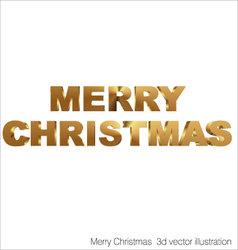 Merry Christmas 3d golden text vector image