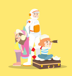 A astronaut with his children playing toy vector