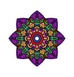 Acid color ethnic aztec mandala pr vector image
