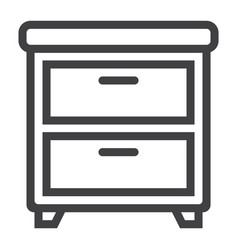 bedside table line icon furniture and interior vector image vector image