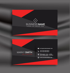Black and red business card template with vector