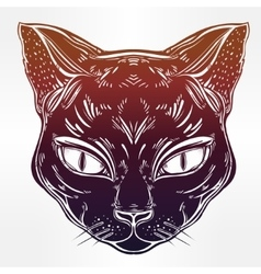 Black cat head portrait vector image vector image