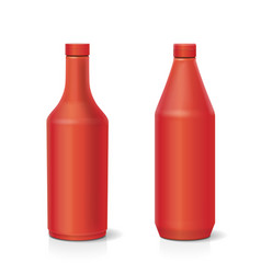 blank plastic red ketchup bottle vector image vector image