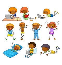 Boy and girl doing different activities vector