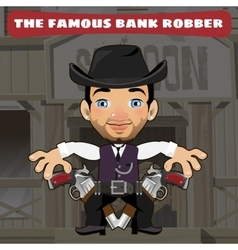 Cartoon character in wild west - bank robber vector