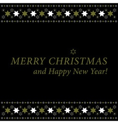 Christmas and new year card - gold and white stars vector