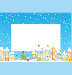 christmas border with a toy town vector image vector image