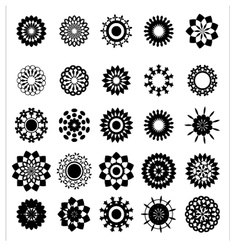 Collection of flower silhouettes vector