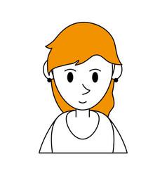 Color silhouette cartoon half body woman with vector