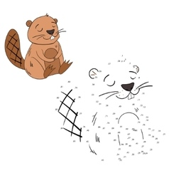 Connect the dots game beaver vector image