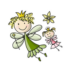 cute fairies sketch for your design vector image