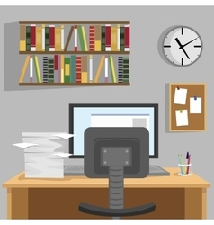 Designed modern workspace at home vector