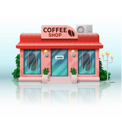 Different store includes realistic coffee shop vector