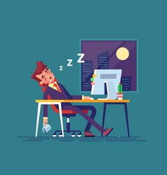 Exhausted businessman fell asleep in the office vector