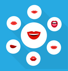 Flat icon mouth set of pomade mouth kiss and vector