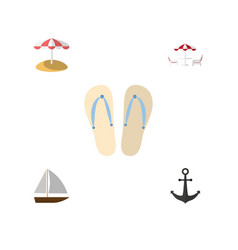 Flat season set of yacht beach sandals ship vector