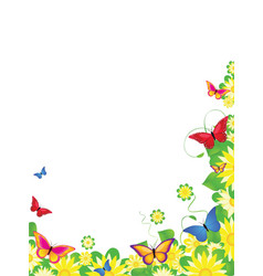 floral butterfly border vector image vector image