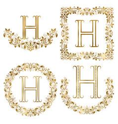 golden h letter ornamental monograms set heraldic vector image vector image