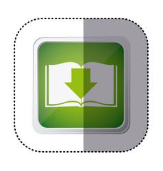 Green emblem book with down arrow vector