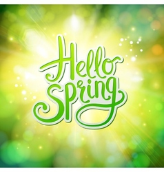 Hello Spring fresh green greeting card vector image vector image