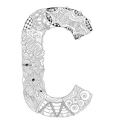 Letter c for coloring decorative zentangle vector