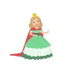 Little Girl In Green Dress Dressed As Fairy Tale vector image vector image