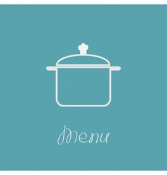 Menu cover with contour saucepan Flat design style vector image vector image