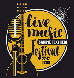 Music poster with microphone and acoustic guitar vector