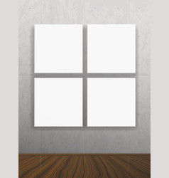 realistic blank mock up poster on concrete wall vector image vector image