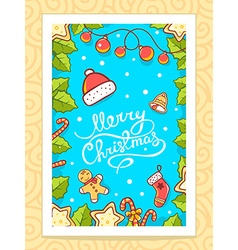Red yellow and green christmas items and vector