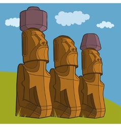 Sculptures of easter island rapa nui vector