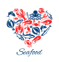 seafood fish food heart poster vector image