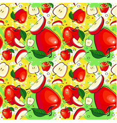 seamless pattern red apples fruits summer ornament vector image vector image