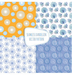 seamless patterns with dandelions endless vector image vector image