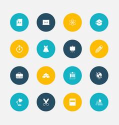 set of 16 editable school icons includes symbols vector image vector image